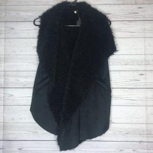 Ella Moss Black Faux Suede Faux Sherpa Vest Sz 12